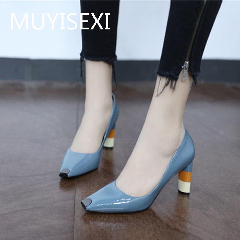 Women Colored High Heel Shoes Metal Square Toe Girls Party Wedding Shoes Spring Fashion Women Pumps