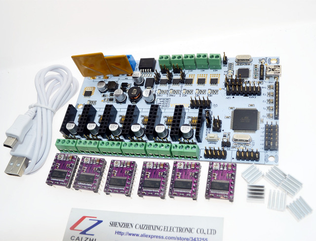 Оптовая Reprap 3d принтер главная плата управления Румба доска для Prusa Мендель 3D наборы для начинающих и 6 ШТ. DRV8825 Шагового