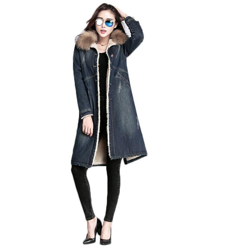 Femmes denim manteau hiver veste 2019 nouveau vrai col de fourrure pardessus femme longue laine denim veste hiver femmes denim coton manteau
