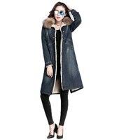 Women denim coat winter jacket 2019 new true fur collar overcoat female long wool denim jacket winter women denim cotton coat