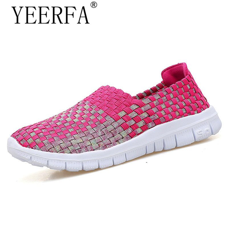 YIERFA 2017 spring women flats breathable light sole flat loafers shoes Cheap Walking flats woven shoes for women nurse shoes summer women slip on loafers breathable light sole flats shoes cheap walking sneakers casual woven shoes for women nurse shoes