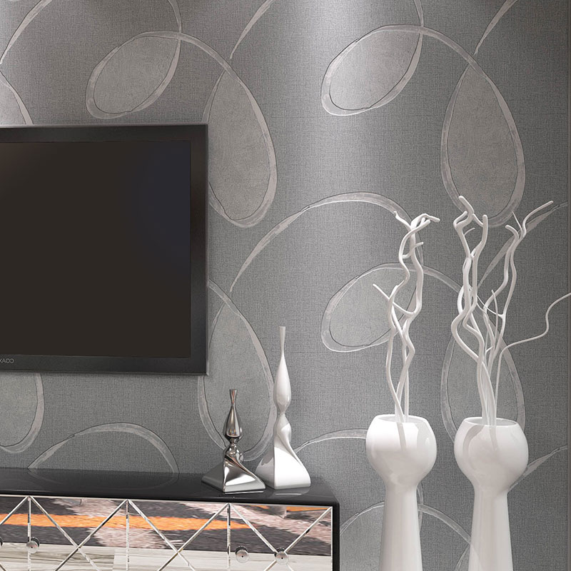 Modern Abstract Wallpaper Roll for Living Room Non-woven Solid Color Wall Paper Grey Coffee Bedroom Walls papier peint mural 3d