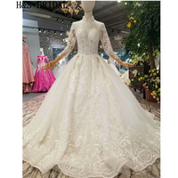 H&S BRIDAL A line Luxury vestido de noiva bride dress Long Sleeve wedding dress High Neck Wedding Gown 2019