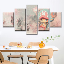 5 Piece Abstract Art Cartoon Pictures Tony Chopper Straw Hat Pirate ONE PIECE Anime Poster Canvas Paintings for Wall Decor