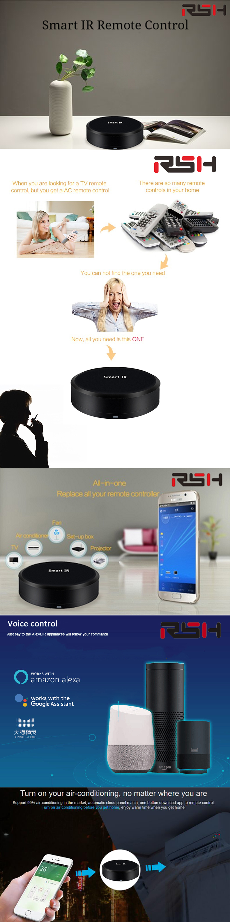 US $39 99 |RSH IR01 Universal Intelligent Smart Remote Controller WIFI+IR  Switch 360degree Smart Home Automation smart sensor-in Remote Controls from