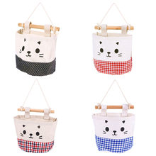 1 Pcs Cute Storage Wall Bag For Toys Cosmetic Wardrobe Organizer Cotton Line Hanging Pouch Colorful Home Decor Bags