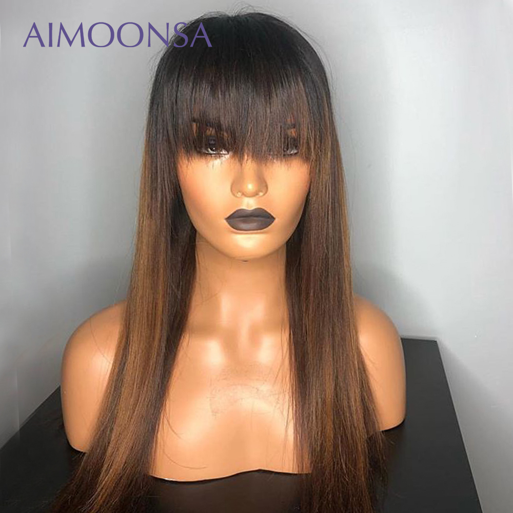 Blue Wig Ombre Lace Front Bang Wig Colored Human Hair Wigs With Bang 13x6 Brown Color Straight Lace Frontal Wigs Remy