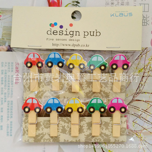 10 Pcs/Lot Kawaii Cartoon Car Wooden Clip Photo Paper Clothespin Craft Clips Party Decoration Clip With Hemp Rope