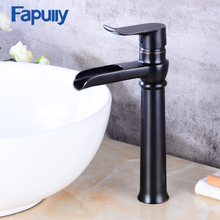 Fapully bathroom Modem brass body oil rubbed bronze tall faucet modem waterfall basin mixer