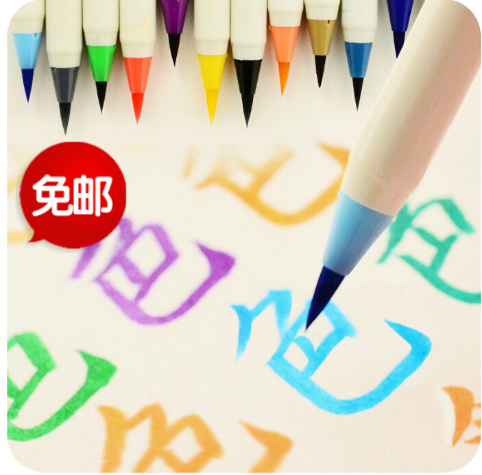 Free shipping 20pcs/lot Diversity Color Brush Pen Refillable Soft Nylon Calligraphy Watercolor Pens Ink andwash Painting Supply
