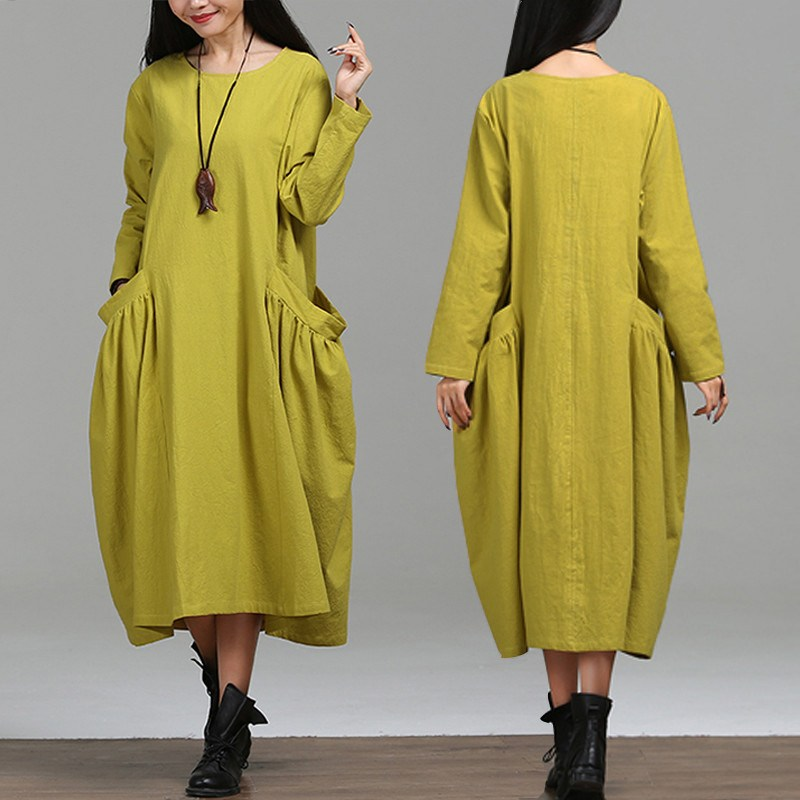 Plus Size Women Dress Winter Long Sleeve Round Neck Maxi Long Dresses Casual Female Vintage Loose Oversized Vestidos S-5XL