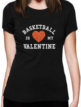 New Spring Summer  Casual Basketballer Is My Valentine WomenS Crew Neck Short-Sleeve Printed Tee
