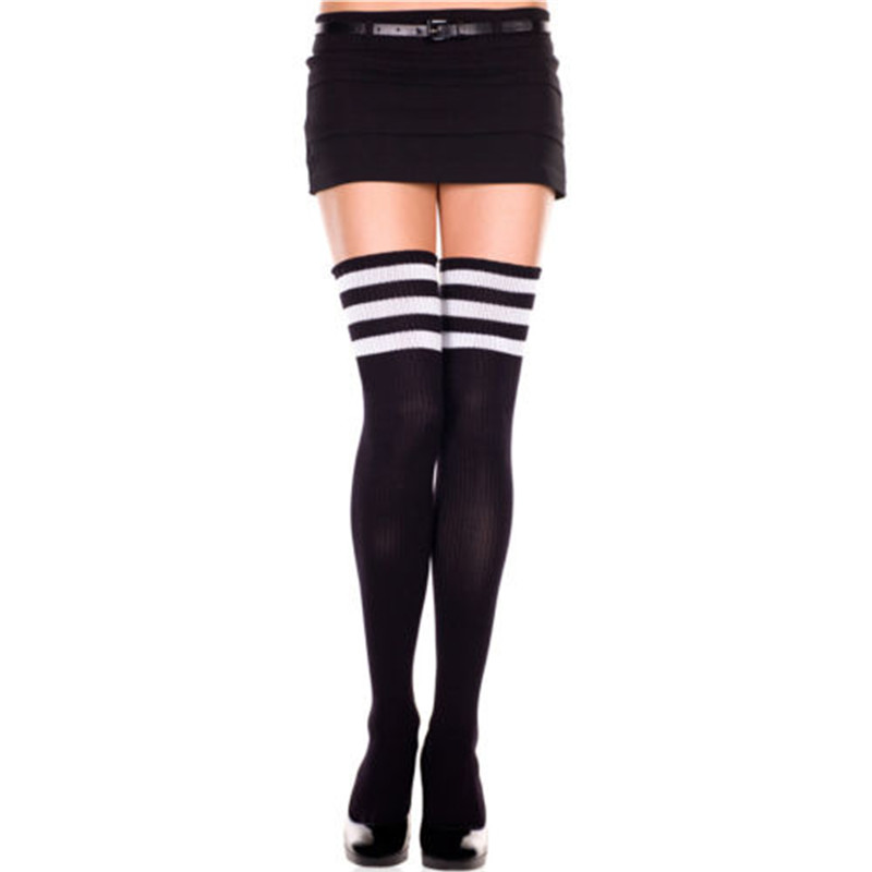 1 Pair New Sexy Women Lady Girls Fashion Cotton Knit Over Knee Thigh High Stockings Long Boot Warm Cable Striped Stockings W3