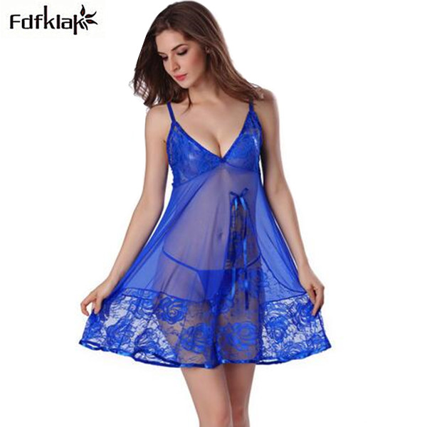 051876411b 2018 Sexy Nightgown Night Gown Sleep Dresses Women Sleeping Dress and  String Set Ladies Nightie Deep V Sleepwear Lingerie XXL