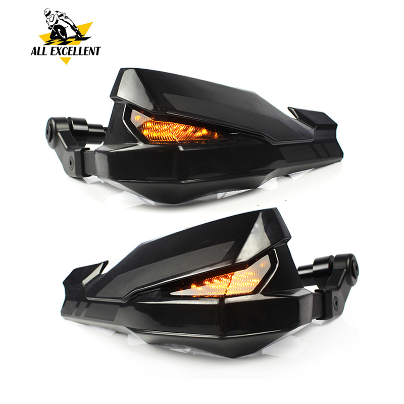 Motorcycle Handlebar Hand Guard Protector w LED Light for 2017 Kawasaki Z900 Yamaha MT07 MT09 XSR700