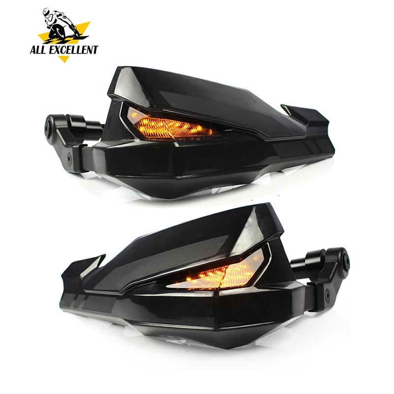Protecteur de garde de main de guidon de moto avec lumière LED pour 2017 Kawasaki Z900 Yamaha MT07 MT09 XSR700 XSR900 SXR900 universel