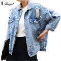Long Sleeve Denim Jacket Women Thin Rhinestone Beaded Denim Ladies Elegant Vintage Hole Girls Jackets Coat Casacos Feminino