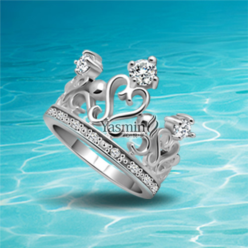 925 Sterling Silver Women Princess Queen Crown Ring with Clear CZ Authentic Jewelry Bague Femme.Women Wedding Fine Jewelry