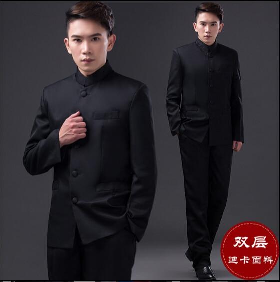 طبقة مزدوجة الصينية القديمة الرجال تقف طوق الملابس ضئيلة سترة بدلة الرجال زي جمهورية الصين البدلة