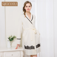 Qianxiu Robe For Women Warm Color Gown Lace Leisure Wear Comfortable For Women