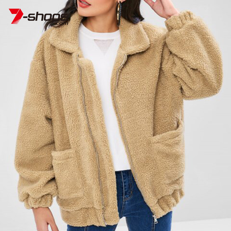 7-shops Women Long Sleeved Zipper Plush Coat Female Pocket Coat Winter Clothes Oversized Jacket Outwear Coat For Women