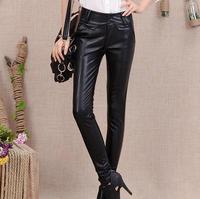 Botas de cuero de la pu de las NUEVAS mujeres Coreanas pantalones para mujer lápiz pantalones para mujer Leggings jeans pantalones pies