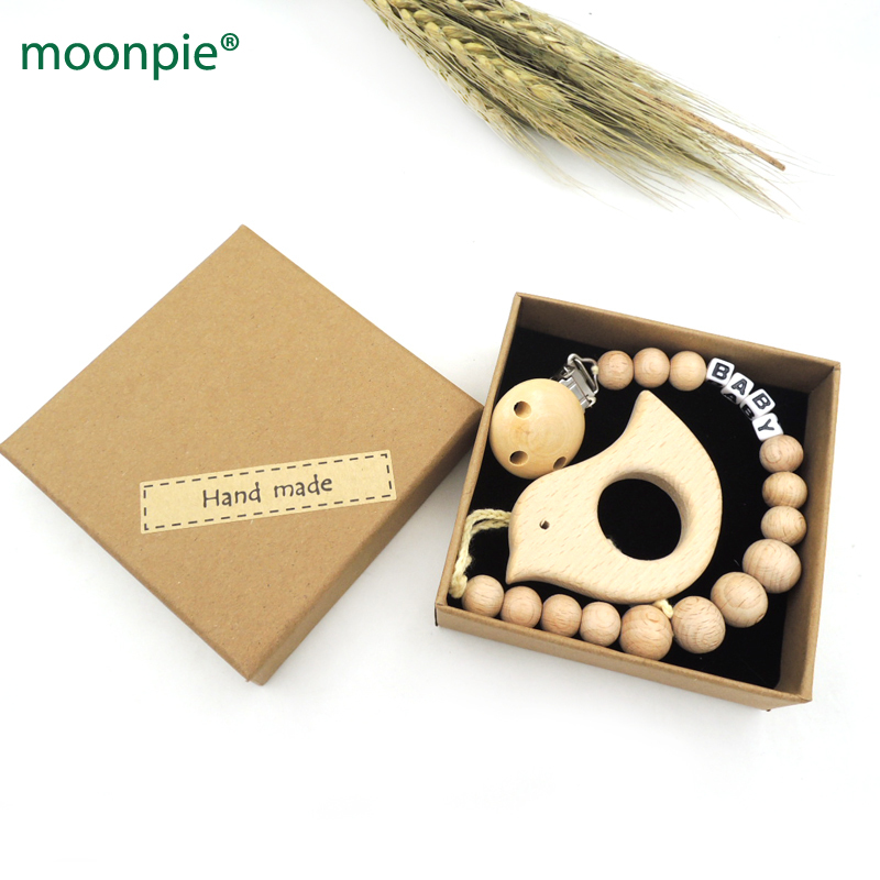 personalized baby name pacifier clip,bird shape beech pendent wood beads dummy chain wooden round teether,shower gift set NTS140