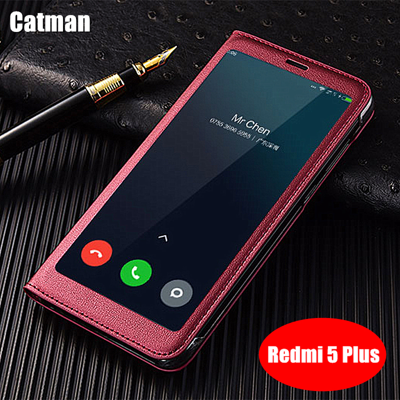 xiaomi redmi 5 plus case which based on snapdragon 625 CPU luxury PU leather fullview window flip cover case xiaomi redmi 5 plus