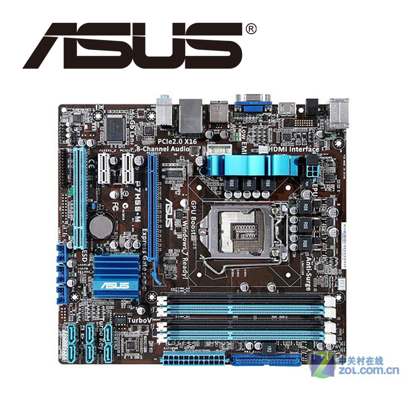 Asus P7H55-M Desktop Motherboard H55 Socket LGA 1156 i3 i5 i7 DDR3 16G ATX UEFI BIOS Original Used Mainboard On Sale asus p8b75 m lx desktop motherboard b75 socket lga 1155 i3 i5 i7 ddr3 16g uatx uefi bios original used mainboard on sale