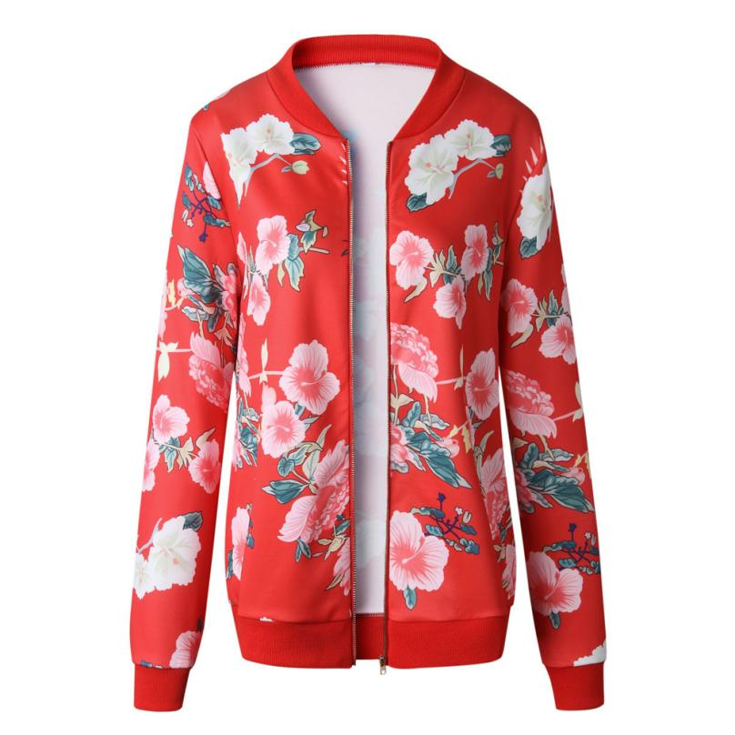 Outerwear & Coats Jackets Womens Ladies Retro Floral Zipper Up Bomber Outwear Casual coats and jackets women 18AUG10 22