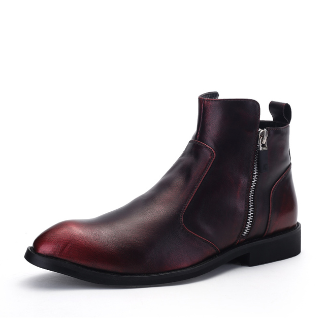 Altos Tops Pisos Oxford Martin Botines para Hombre de Cuero Genuino Dedo Del Pie Puntiagudo Zapatos Brogues Cremallera Schoenen Botas Botines de Hombre