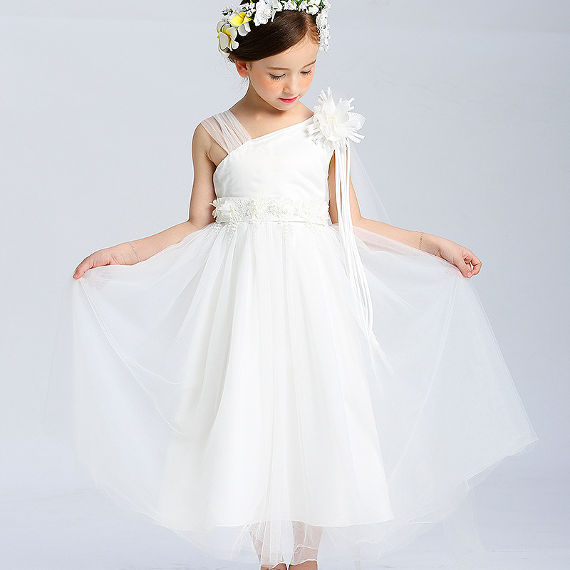 YNB 2017 New Design Sleeveless Flowers Dresses for Girls White Long Dress Kids Party Wedding Clothes Baby Children Girl Clothing  ynb 8 pieces long sleeve party dress girl red princess children new year dresses for girls wedding party satin clothes bow dress