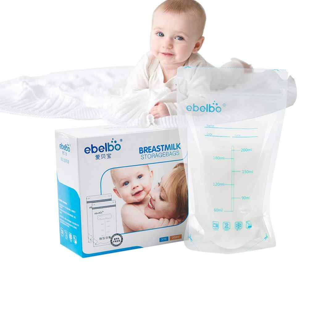 Ebelbo 30Pcs 200ml Double Sealed Self Standing Breastmilk Freezer Storage Bags for mommy baby care