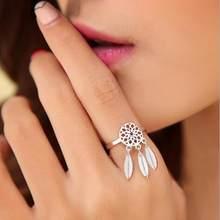 Jisensp – bague d'ouverture attrape-rêve pour femmes, Style National bohème, pendentif en filet et plume, bijoux d'étudiants
