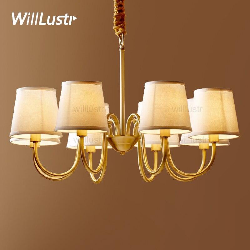 Willlustr Copper Pendant Lamp Brass Hanging Light Fabric Chandelier Modern Suspension Lighting American Country Nordic Europe