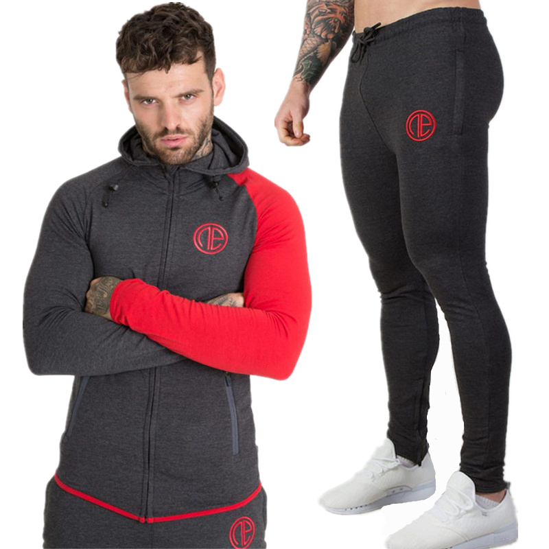 2019 Spring New Men Hoodie Pants Sets Sweatshirt Sweatpants Male Gyms Fitness Tops Trousers Joggers Sportswear Brand Tracksuits