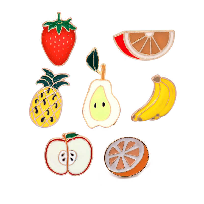 Pine Apple Strawberry Orange Pisang Apple Pear Bros Mini Lucu Kartun Buah Fashion Enamel Bros Pin untuk Wanita Gadis