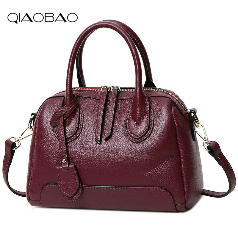 QIAOBAO Fashion designer 100% Genuine leather bags women handbag brand high quality ladies shoulder bags women Totes qiaobao 2018 new korean fashion leather handbag trend of women s shoulder bag diagonal cross flow totes