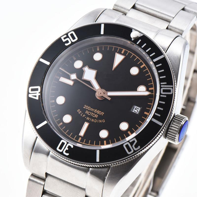 41mm Sapphire Glass Black Luminous Dial Stainless Steel Bracelet Japan Miyota 8215 Automatic Mens Sterile Watch цена и фото