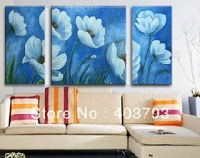 huge wall art modern  flower 3p oil painting of on canvas Free shipping