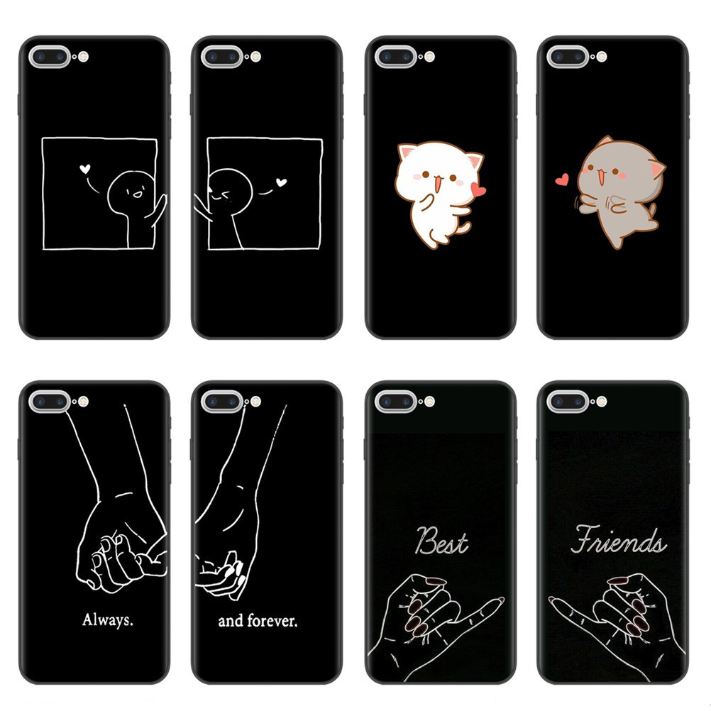 Girls Bff <font><b>Best</b></font> <font><b>Friends</b></font> Forever Soft Silicone Phone Cases Cover For <font><b>iPhone</b></font> 7 6 6S 8 Plus <font><b>Coque</b></font> X XR XS MAX <font><b>5S</b></font> SE Couples Capinha image