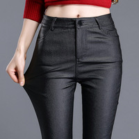 Women Clothes Winter Wear Korean Plus Velvet Matte Pu Imitation Leather Pants Female Waist Elastic Pencil
