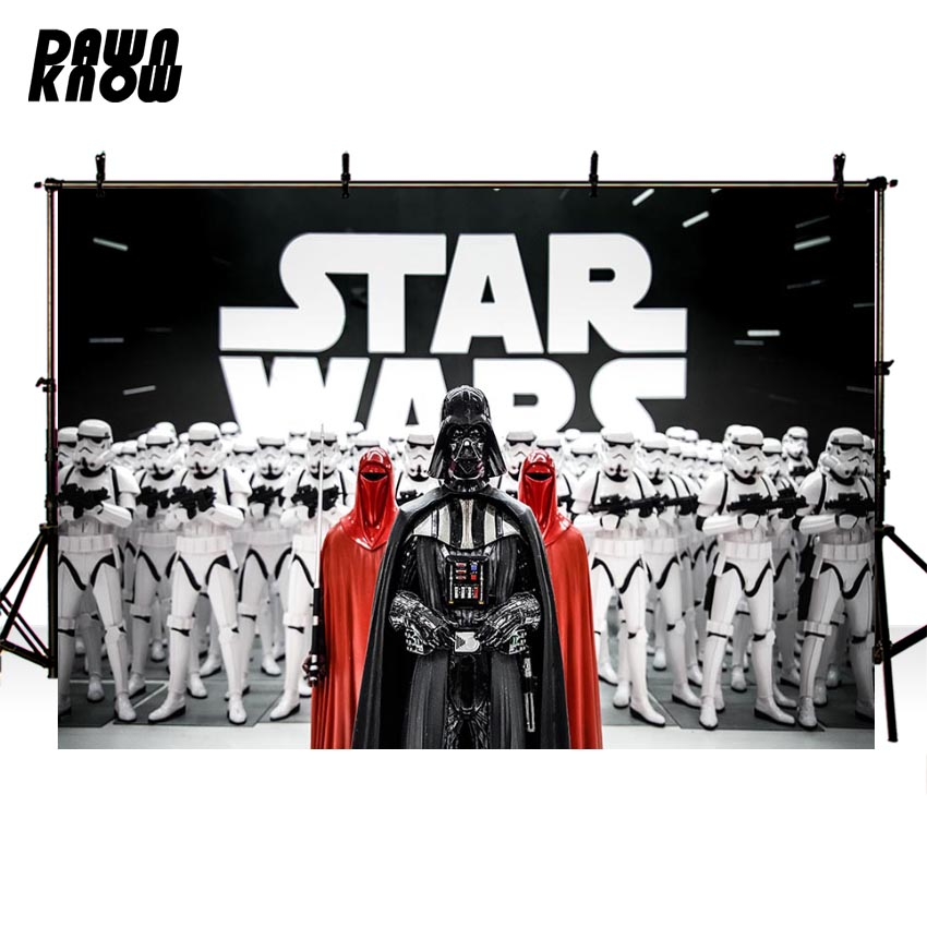 DAWNKNOW Cartoon Star Wars Photography Background Photocall Baby Party Backdrops For Children Photo Booth Customize <font><b>G870</b></font> image