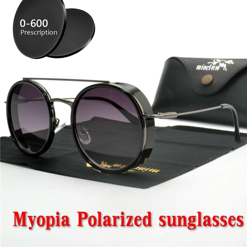 MINCL Brand designer new women round punk myopia polarized sunglasses prescription optical lens retro men hip hop sunglasses NX