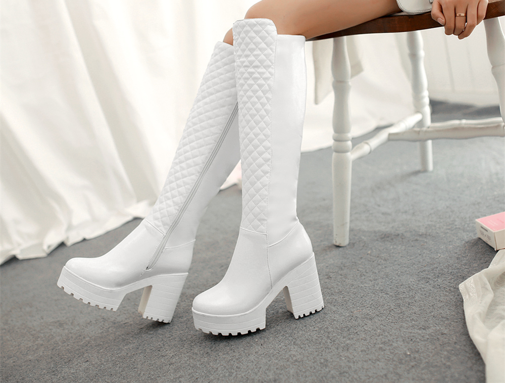 Women Fur Snow Boots Sexy Square High Heel Leather Knee High Shoes