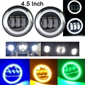 "Negro 2X4.5 ""LED Spot Niebla Auxiliar Al Pasar La Luz Angel Eyes DRL Para Harley Davidson"
