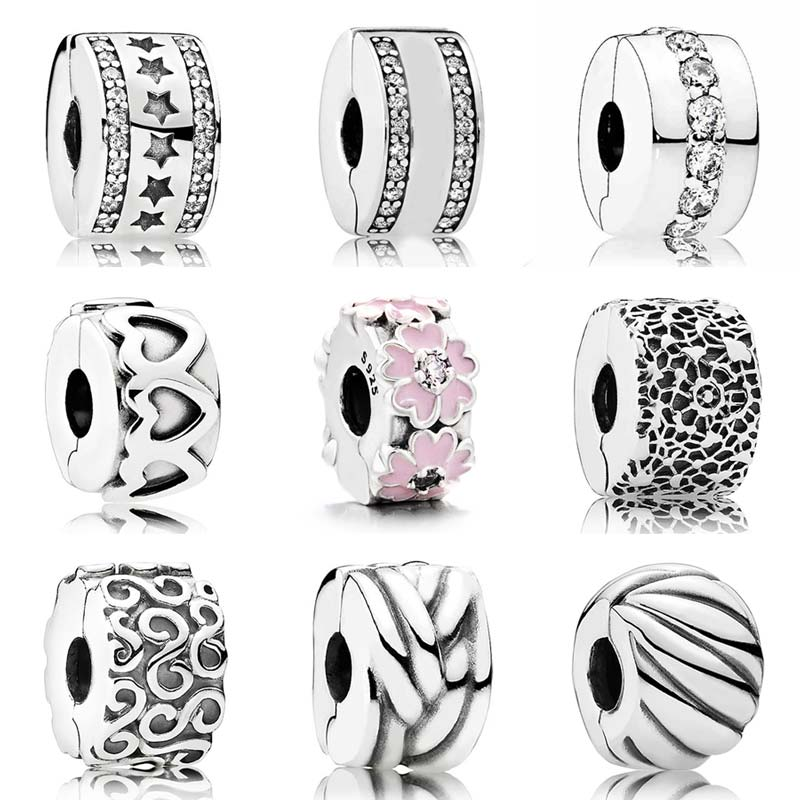 Heart Starry Formation Shining Path Logo Spacer Clip Stopper Bead Fit Pandora Bracelet 925 Sterling Silver Charm Jewelry