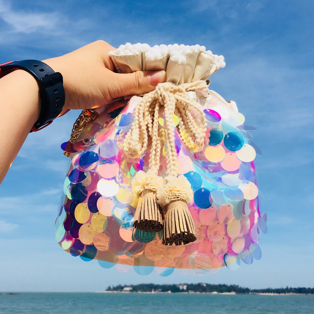 LilyHood Female Summer Sequin Bucket Bag Female Fashion Casual Beach  Iridescent Sparkle Paillette Small Cute Chain Shoulder Bag -in Shoulder  Bags from ... cb9f4f3d71d7