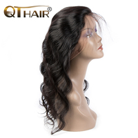 QThair Indian Body Wave Pre Plucked 360 Lace Frontal Closure With Baby Hair Remy Hair Can Match Bundles