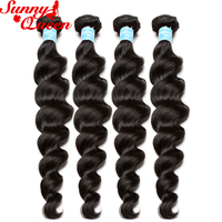 Loose Wave Brazilian Remy Hair Weave Bundles 100% Human Hair Extensions 4 Bundles Deal Natural Color Sunny Queen Hair Products